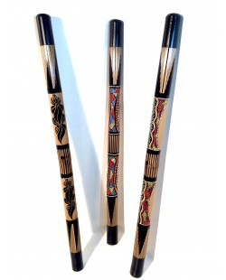 DIDGERIDOO BAMBOU CARVING + PAINTING BLACK
