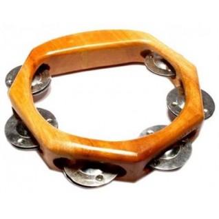 Tambourin en bois à cymbalettes demi rond